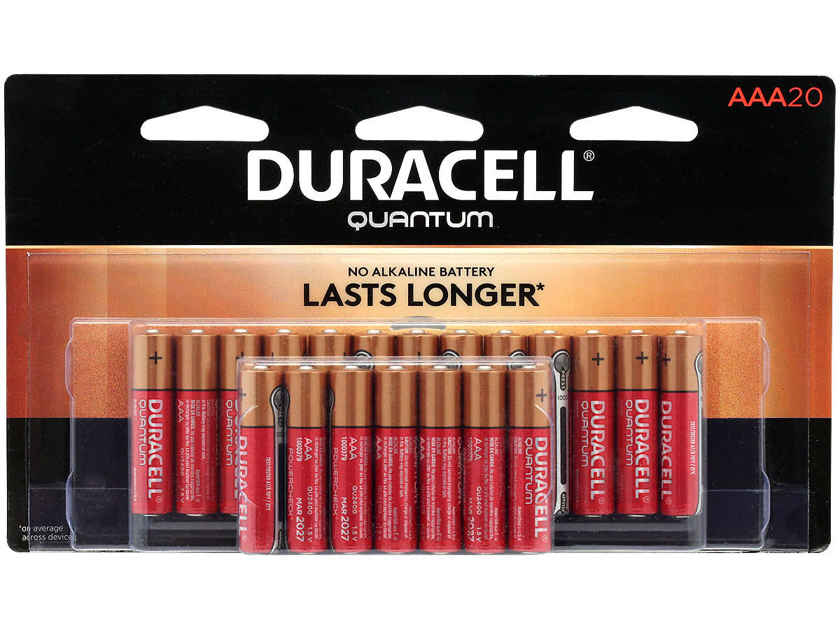 20 Piece Retail Card of Duracell Quantum QU2400 AAA Batteries