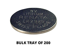 Renata CR2325 Bare Coin Cell Battery Lithium Li-MnO2 3V - Tray of 200