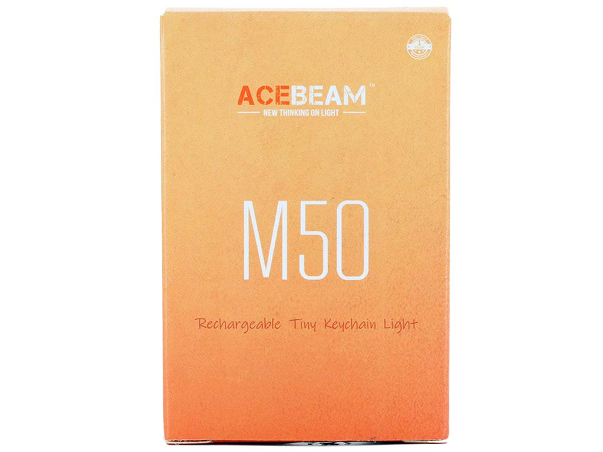 Front of packaging for Acebeam M50