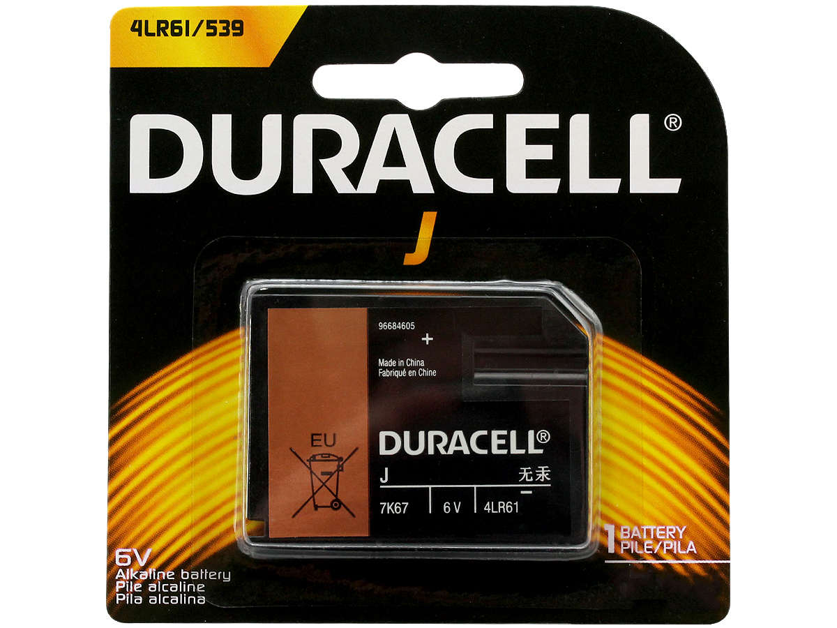 Duracell 6V Alkaline Home Medical Battery in retail card - front view