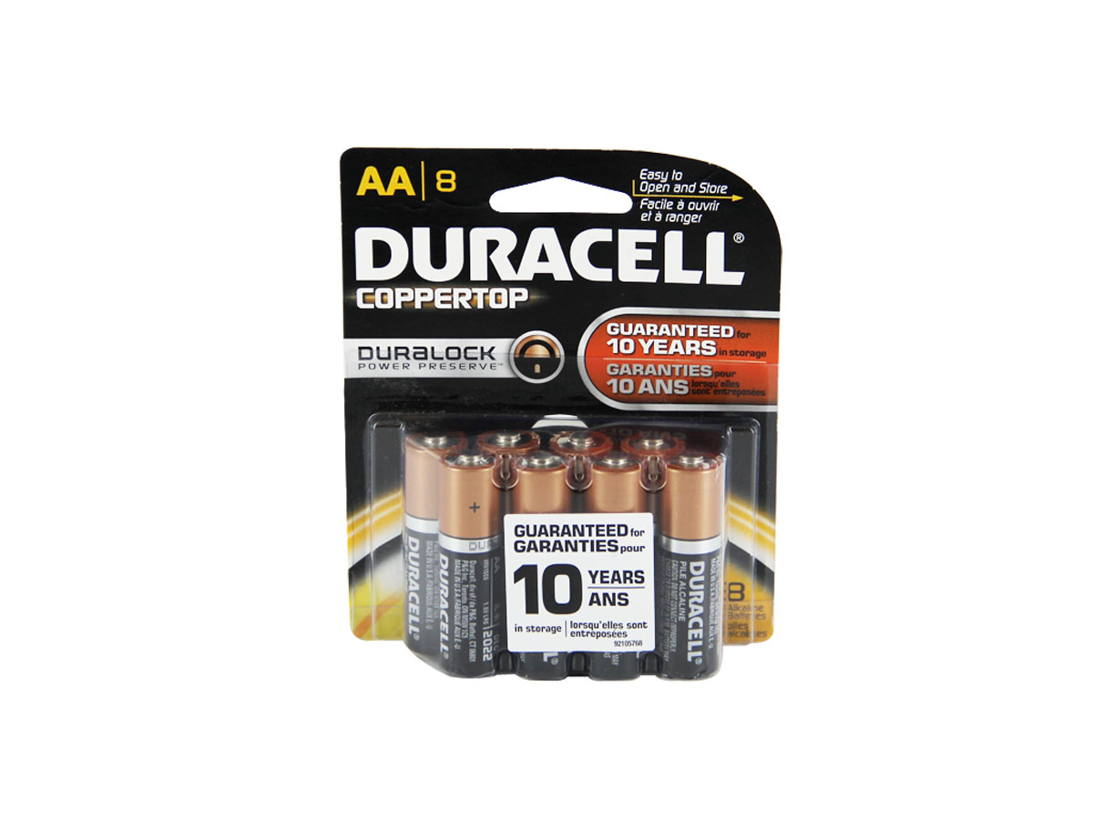 Duracell Coppertop AA batteries in 8 piece retail card