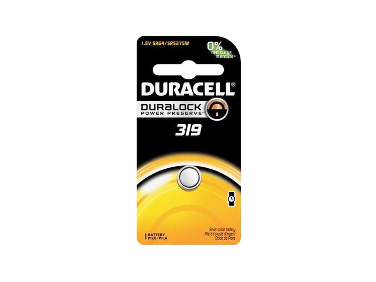 Duracell D319 button cell in retail card