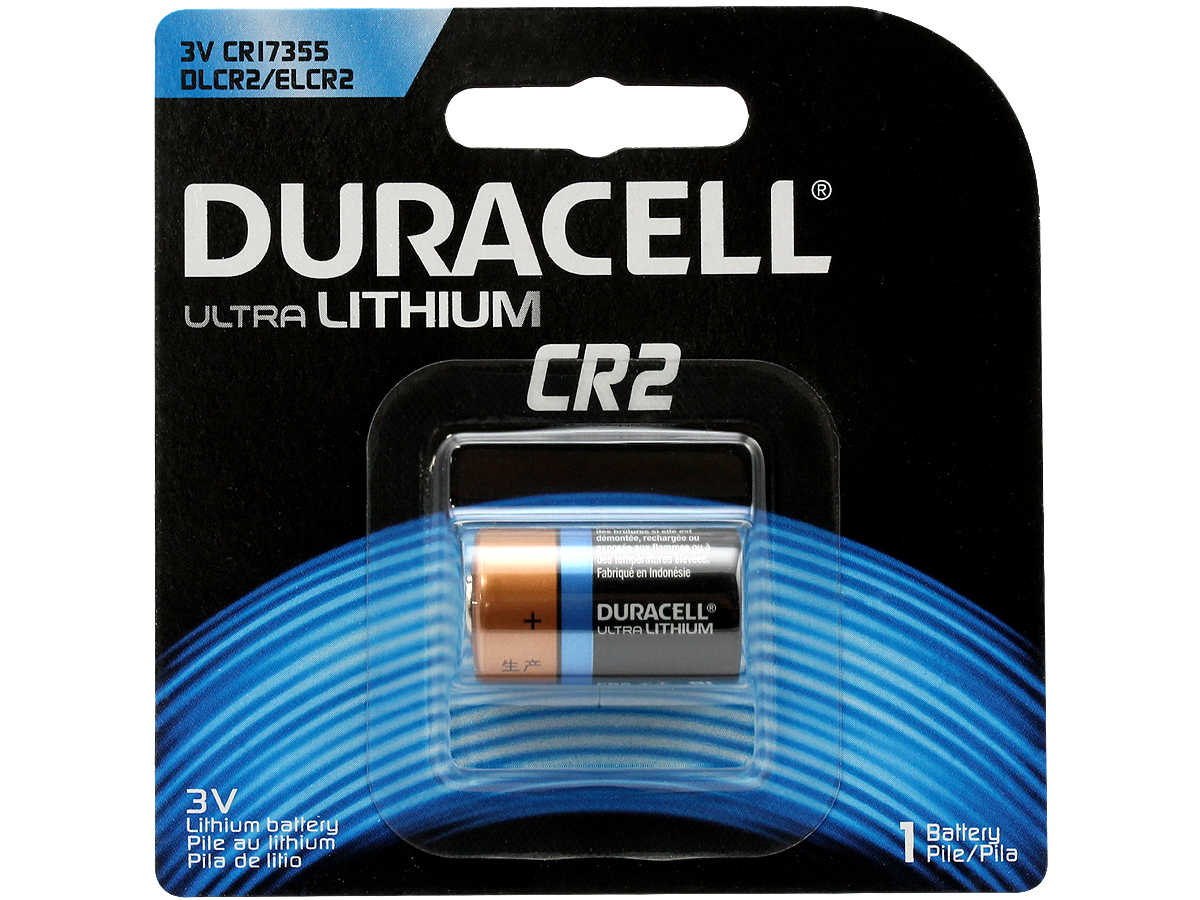 Duracell Ultra CR2 battery in retail card