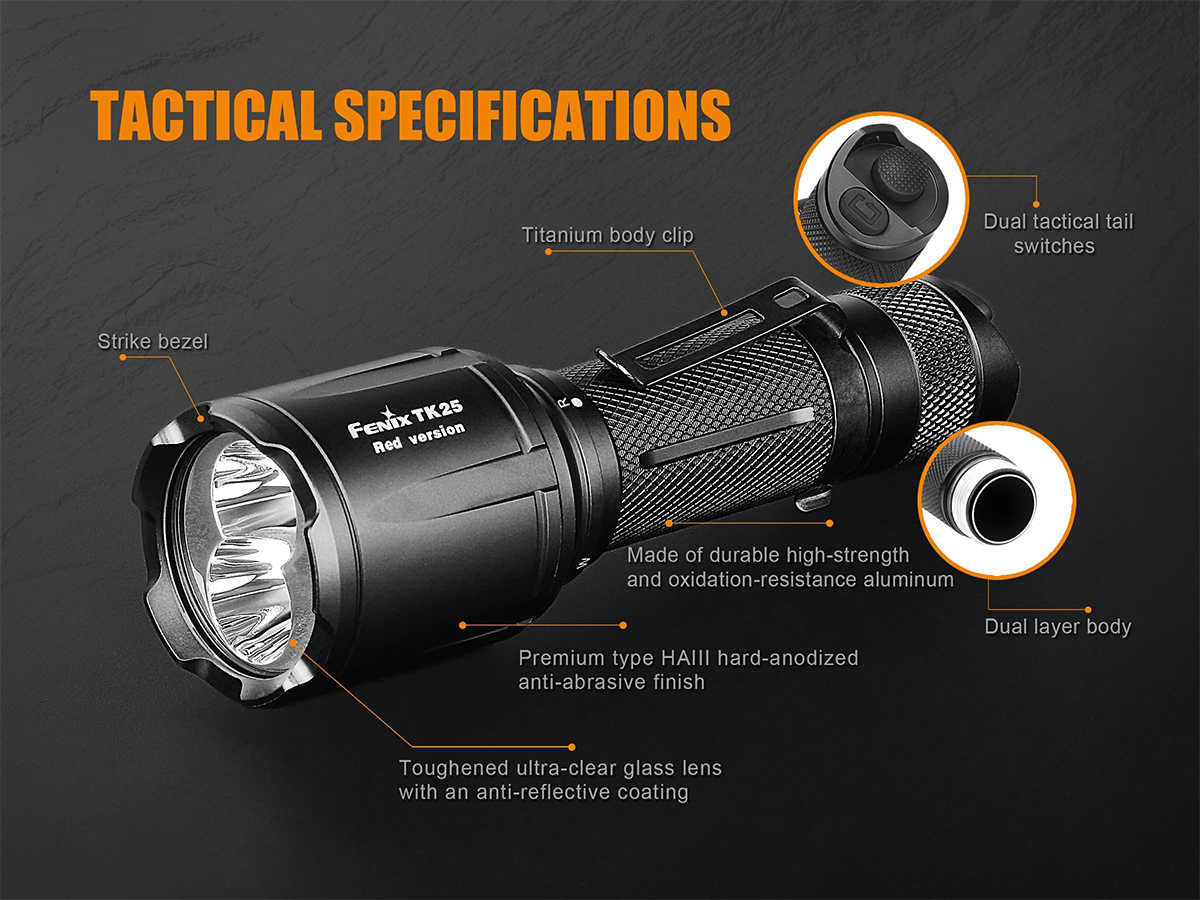 Slide Describing the Body of the Fenix TK25 Red LED Flashlight