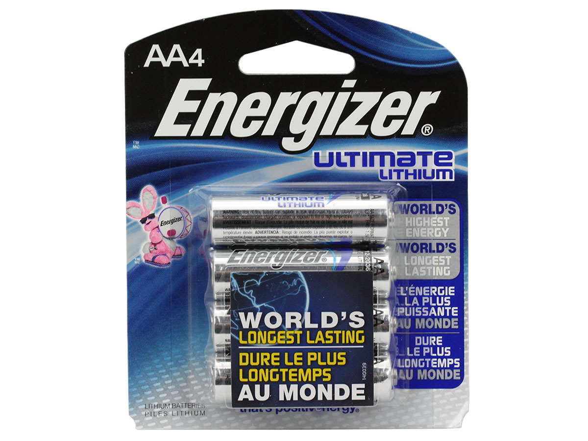 Energizer Ultimate L91 AA batteries in 4-pack retail card