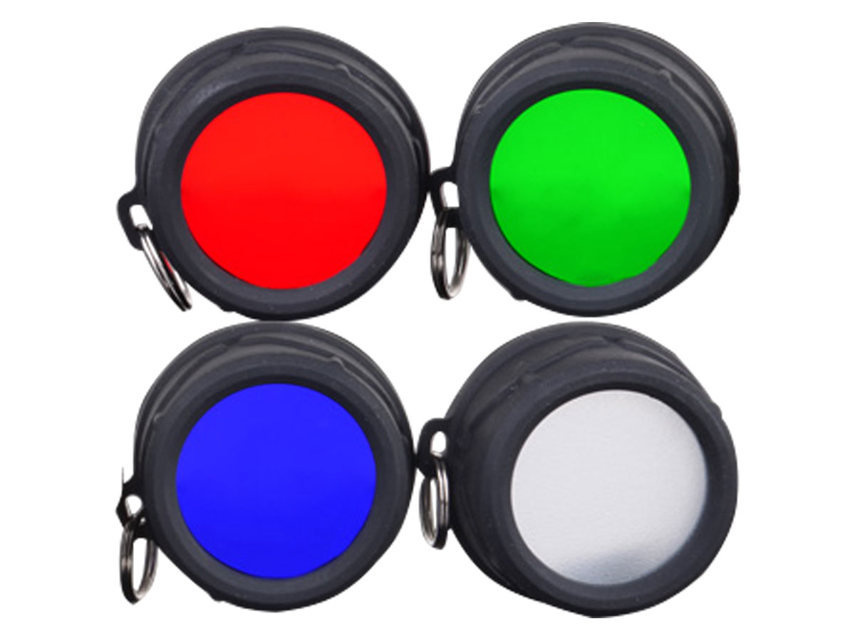 Klarus FT11 filters in red, green, blue, and white
