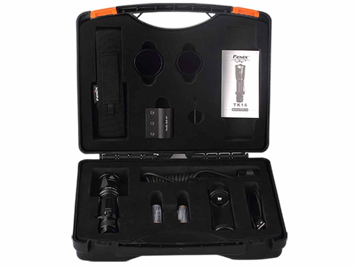 Fenix Portable Flashlight Tool Case filled with flashlights from Fenix TK and PD35 series