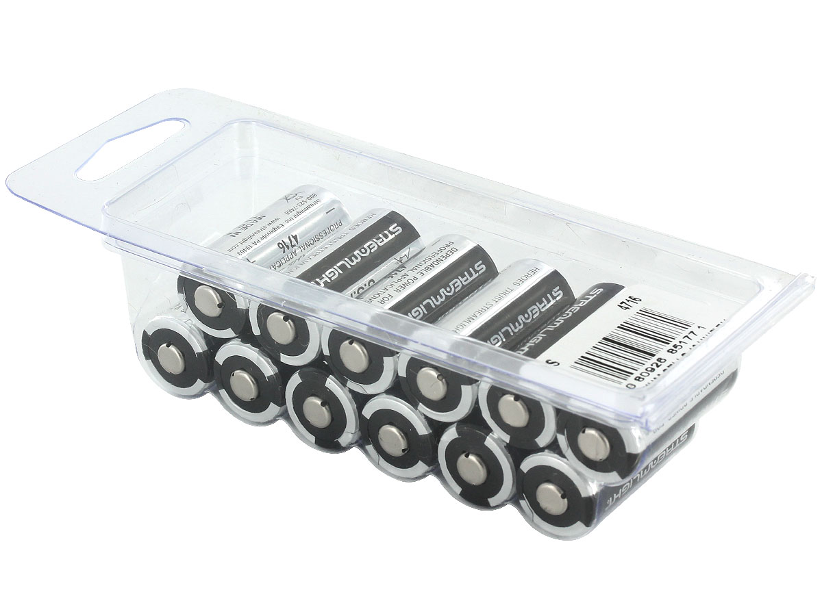 12 Streamlight 85177 CR123A batteries in clamp packaging