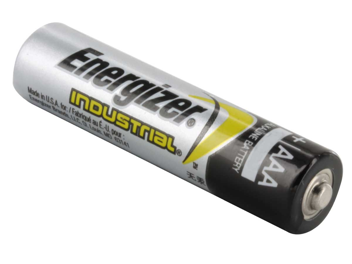 Single Energizer Industrial AAA battery right side angle