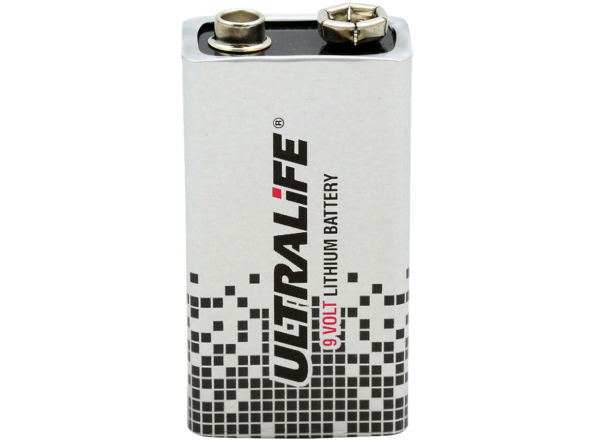 Standing Shot of the Ultralife 9-Volt Lithium Battery With No Cap