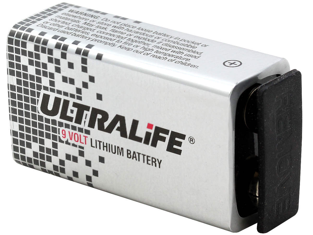 Angle Shot of the Ultralife 9-Volt Lithium Battery With Rubber Cap