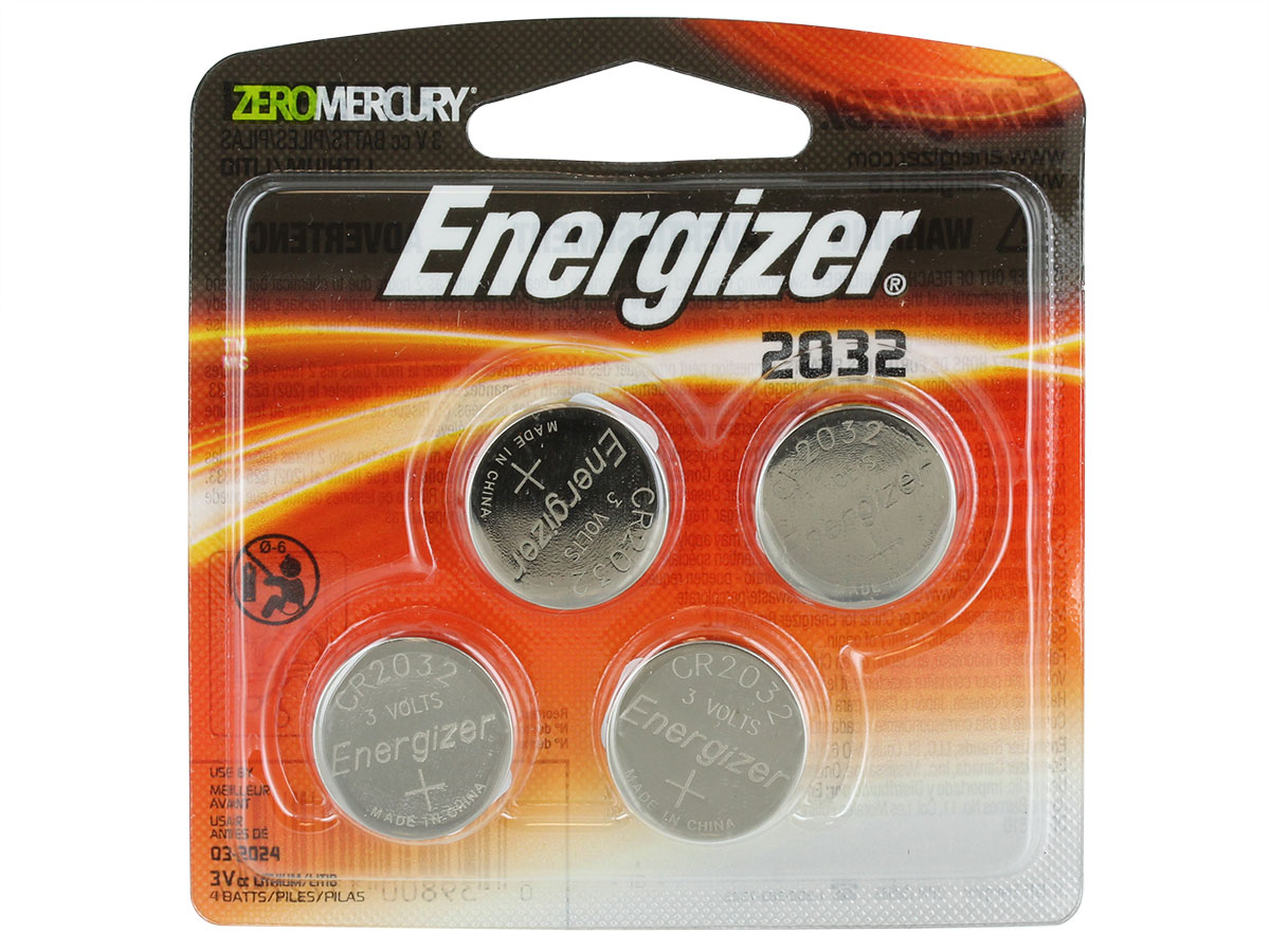 4 Energizer CR2032 coin cells in retail card