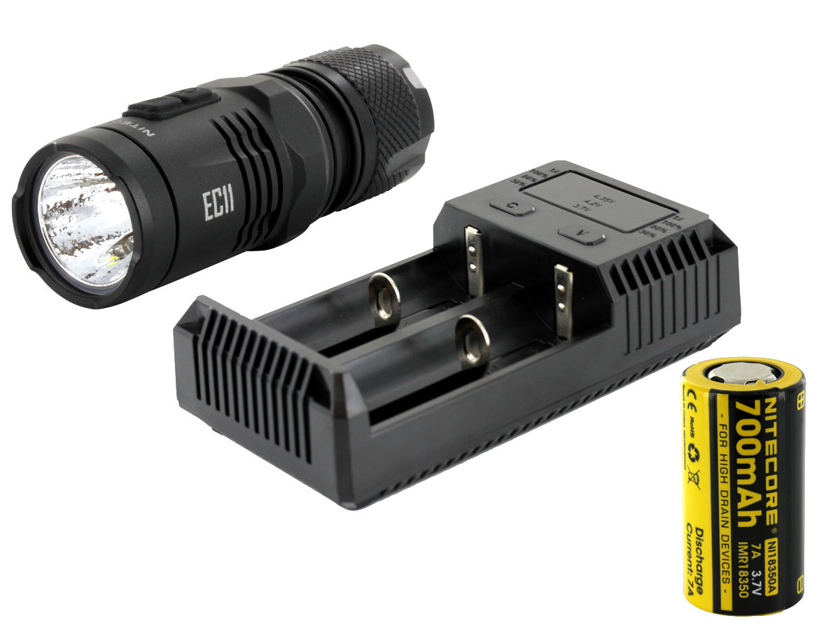 Nitecore EC11 flashlight with battery and charger