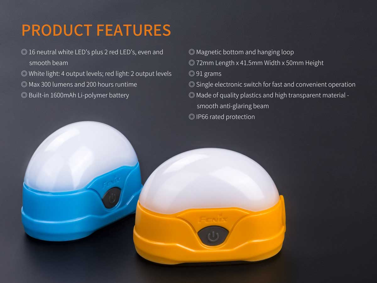 Features of the orange and blue lamps