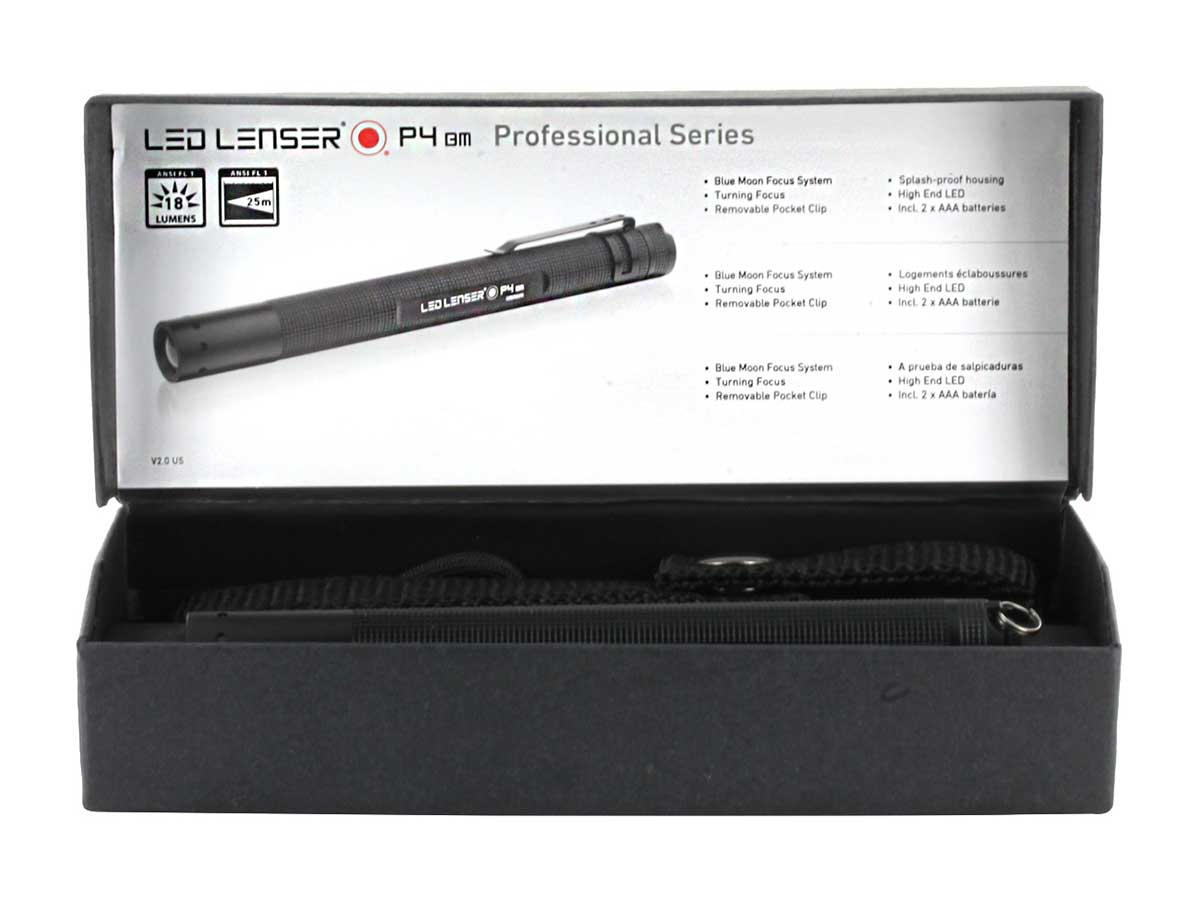 Professional torch with belt pouch LED Lenser P4-18 Lumens adjustable focus