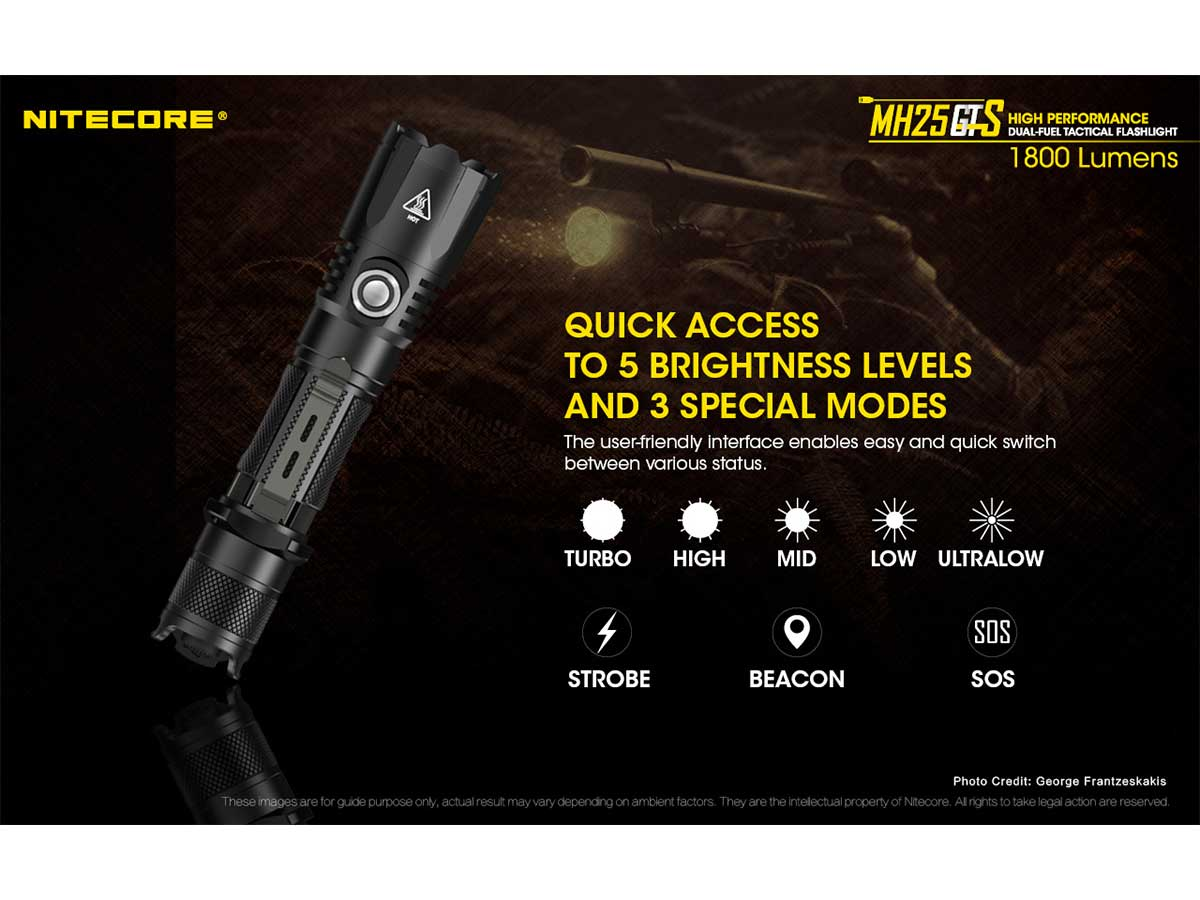 Nitecore MH25GTS LED Flashlight direct turbo / ultralow access