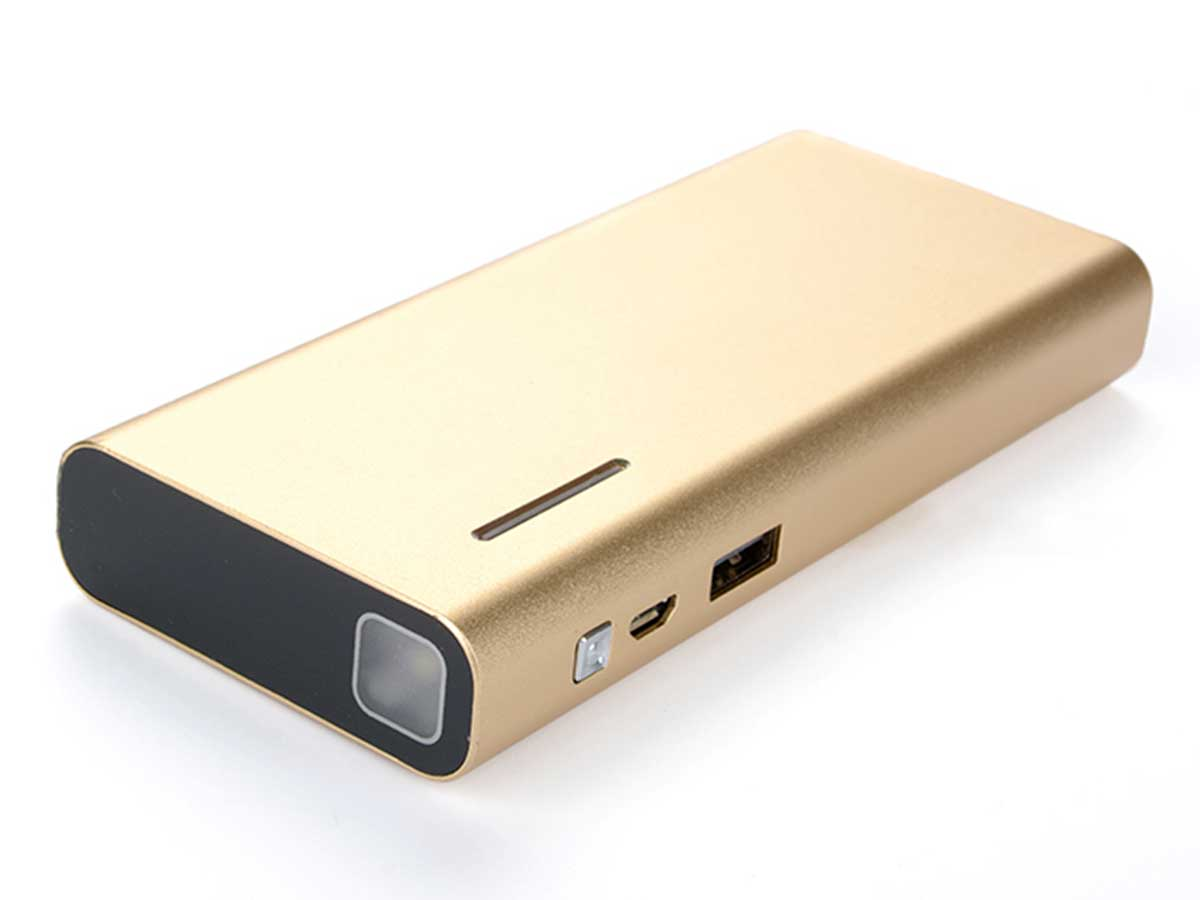 Efest X6 power bank charger in gold side angle