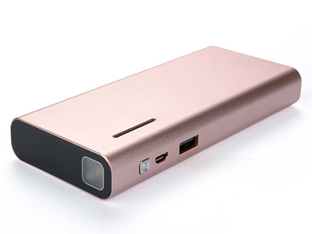 Efest X6 power bank charger in rose gold side angle