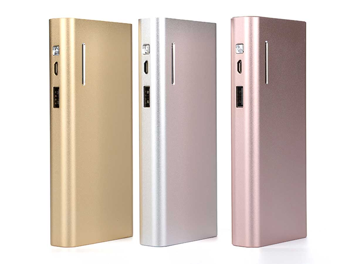 Efest X6 power bank charger upright in gold, silver, and rose gold