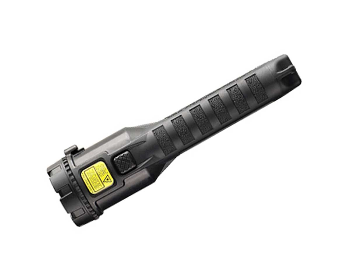 Black version of the hand-held light with a laser