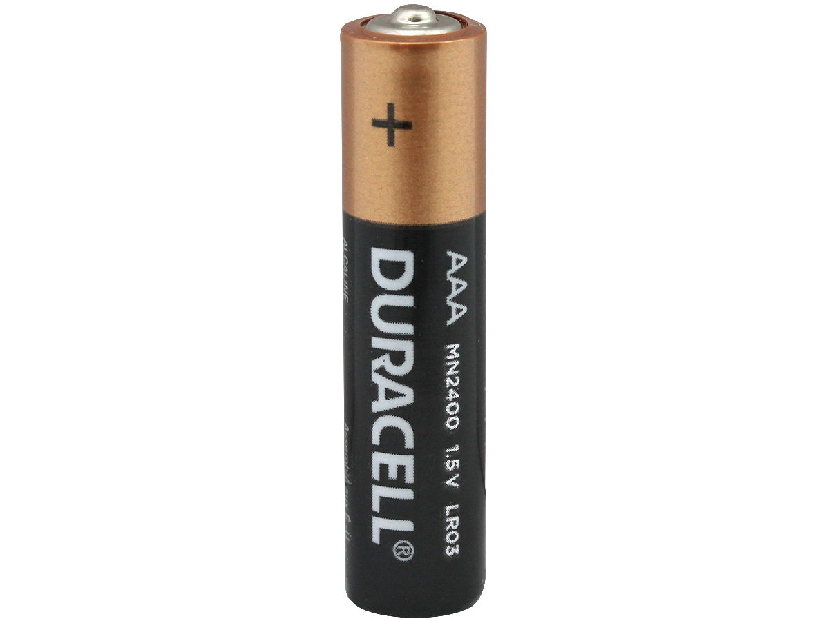 Duracell Coppertop AAA battery upright