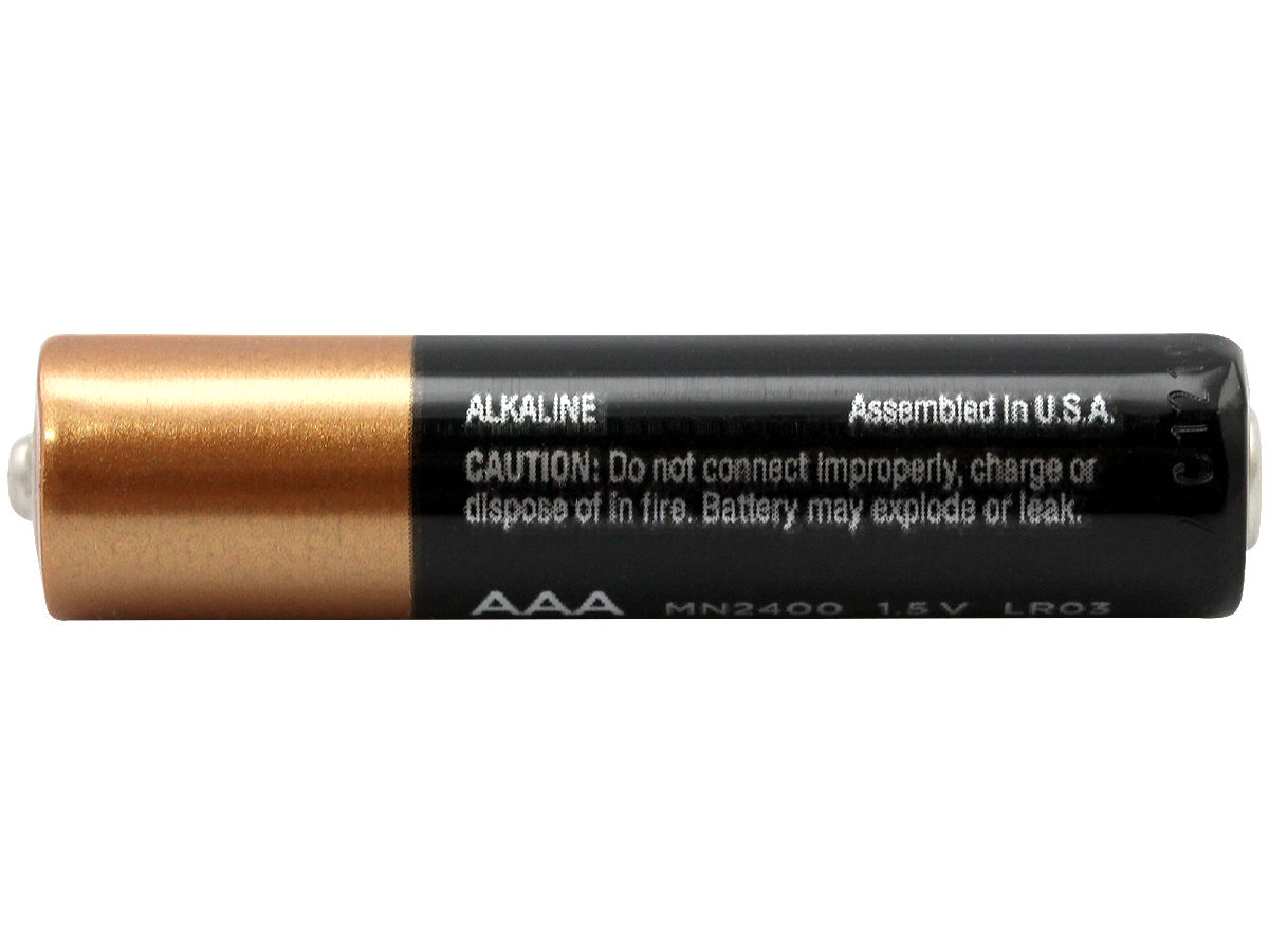 Duracell Coppertop AAA battery side profile