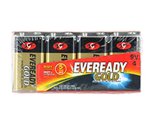 Energizer Eveready Gold A522-4 9V 1.5V Alkaline Battery with Snap Connector - 4 Count Family Pack