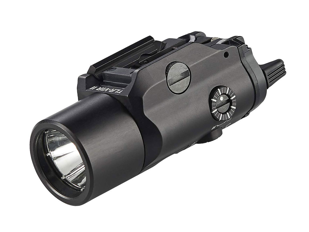 streamlight tlr-vir ii weapon light, black at an angle