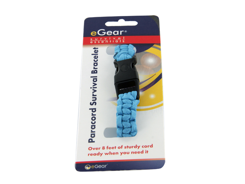 eGear Para Survival Bracelet in blue with packaging