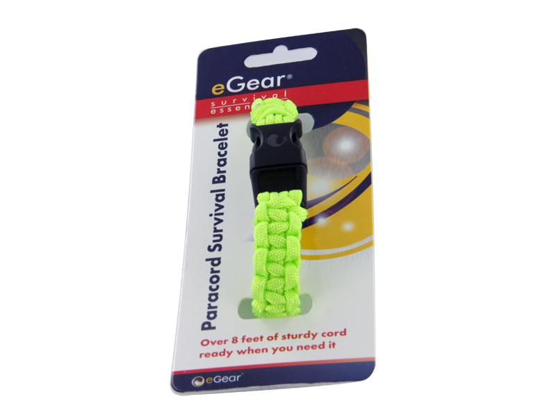 eGear Para Survival Bracelet in lime with packaging