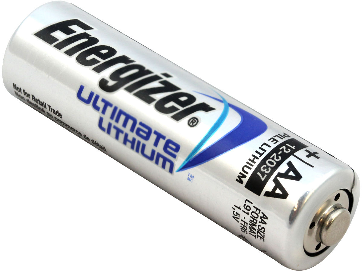 Single Energizer Ultimate L91 AA battery right side angle