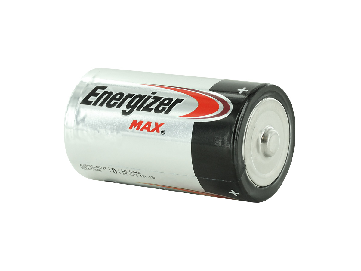 Energizer Max E95 D battery left side angle