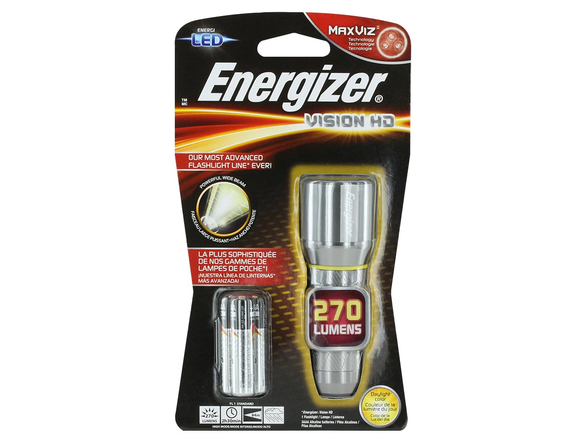 Packaging for Energizer Vision Metal Flashlight