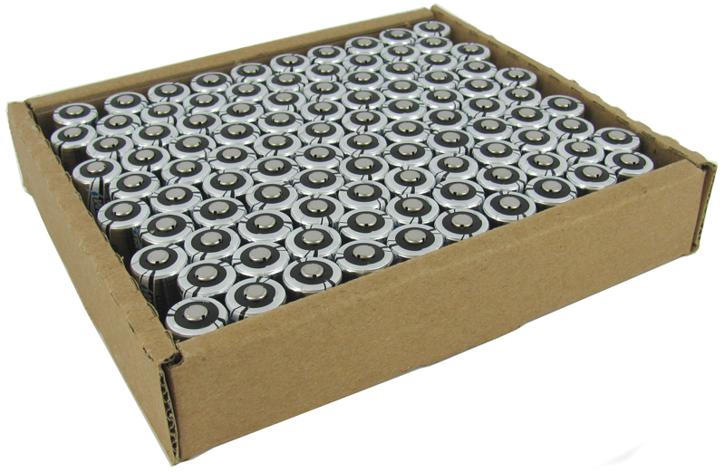 Energizer CR123A batteries in cardboard tray