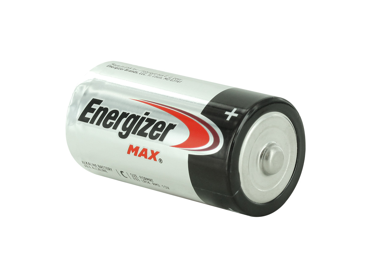 Energizer Max E93 C battery left side angle