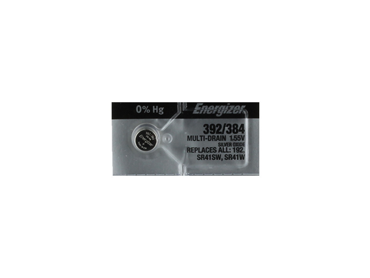 Energizer 392/384 coin cell in 1 piece tear strip packaging