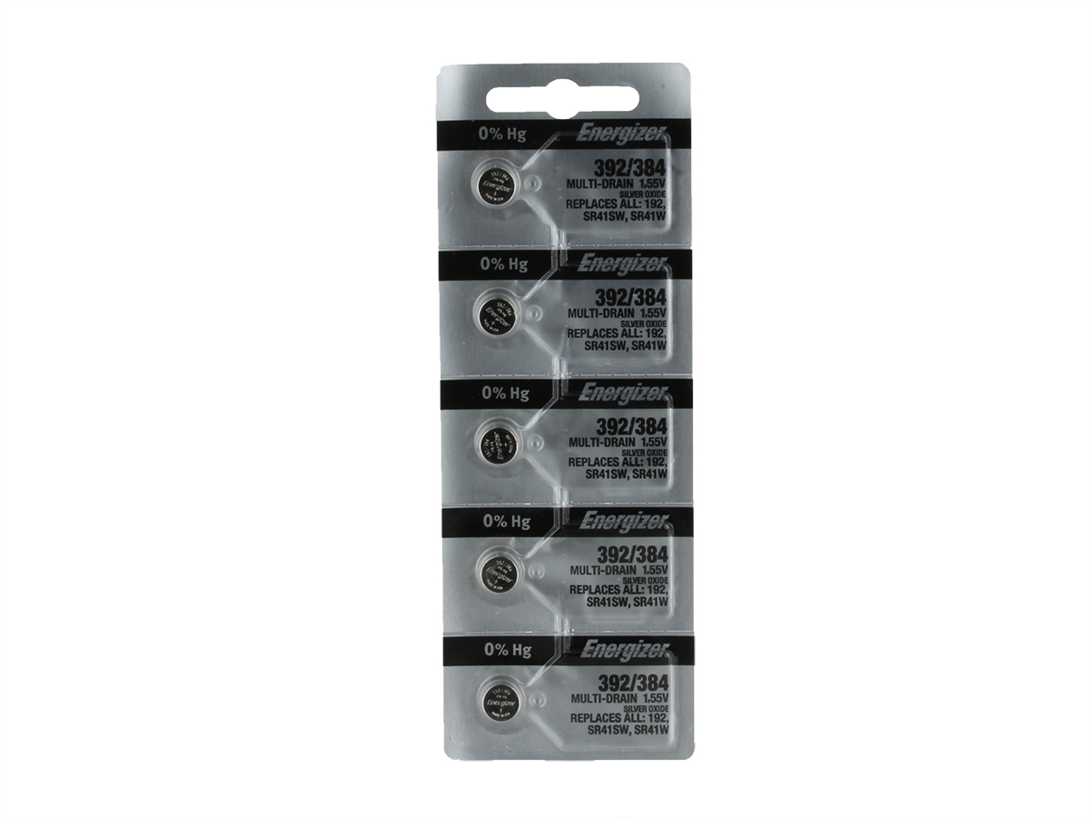 Set of 5 Energizer 392/384 coin cells in tear strip packaging