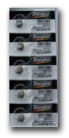 Close up of Energizer 392/384 coin cells in tear strip packaging