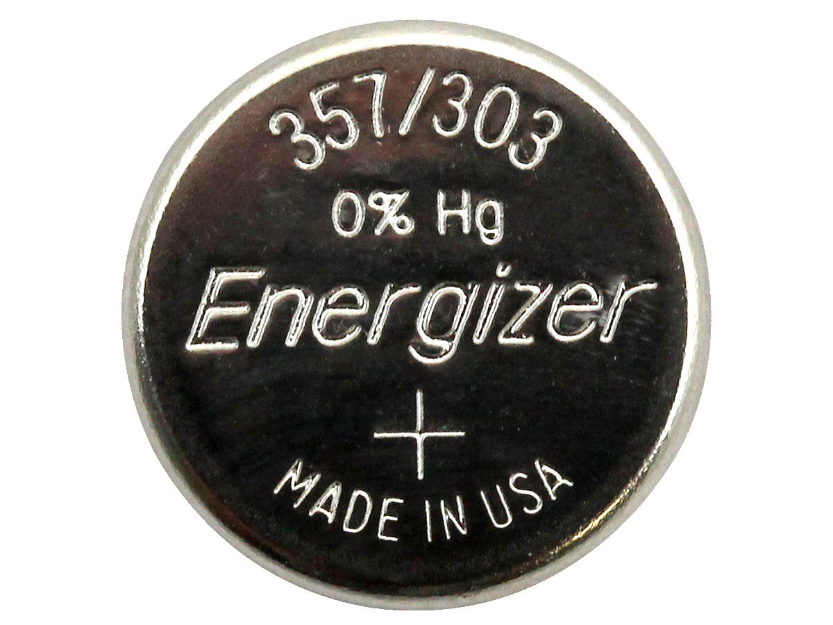 Energizer 357/303 coin cell front view