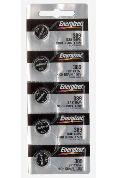 Set of 5 Energizer 389/390 coin cells in tear strip packaging
