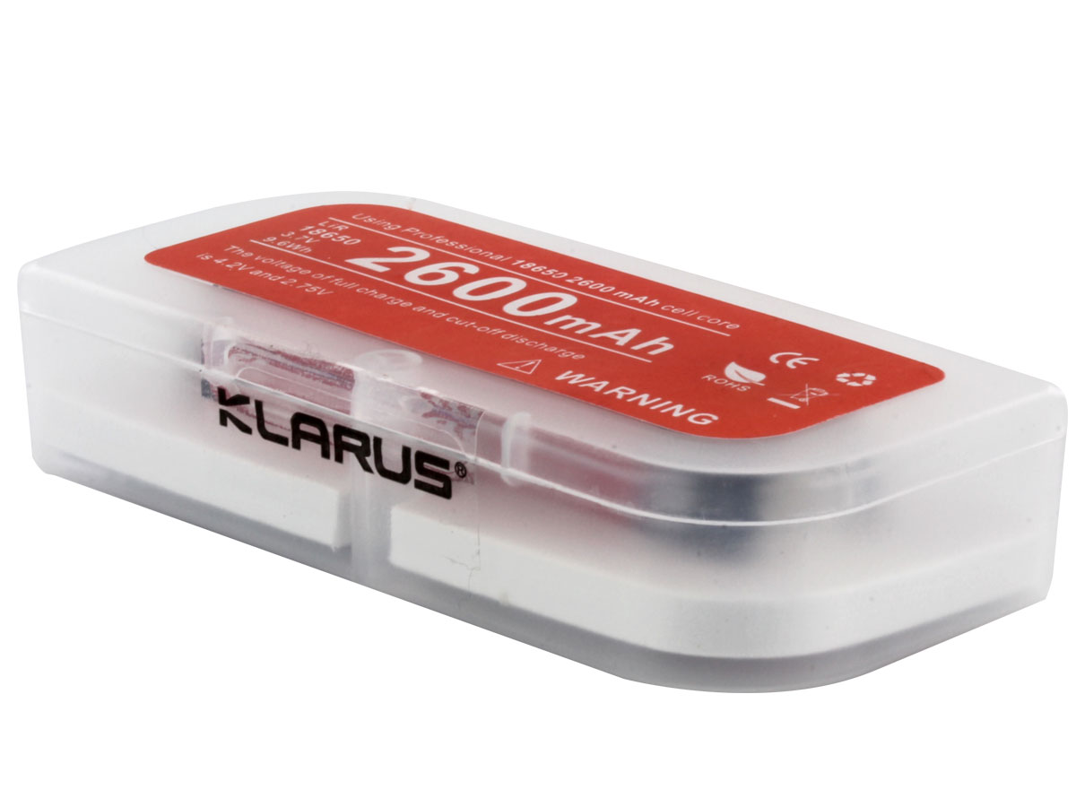 Klarus 18650 battery in closed case right side angle