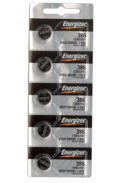 Set of 5 Energizer 386/301 coin cells in tear strip packaging