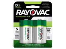 Rayovac Rechargeable Plus PL713-2 D-cell 3000mAh 1.2V Nickel Metal Hydride (NiMH) Button Top Batteries - 2 Piece Retail Card