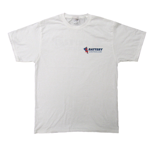 Front of white BatteryJunction.com cotton t-shirt featuring logo in right corner