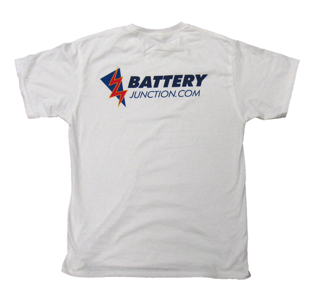 Front of person wearing the BatteryJunction.com t-shirt