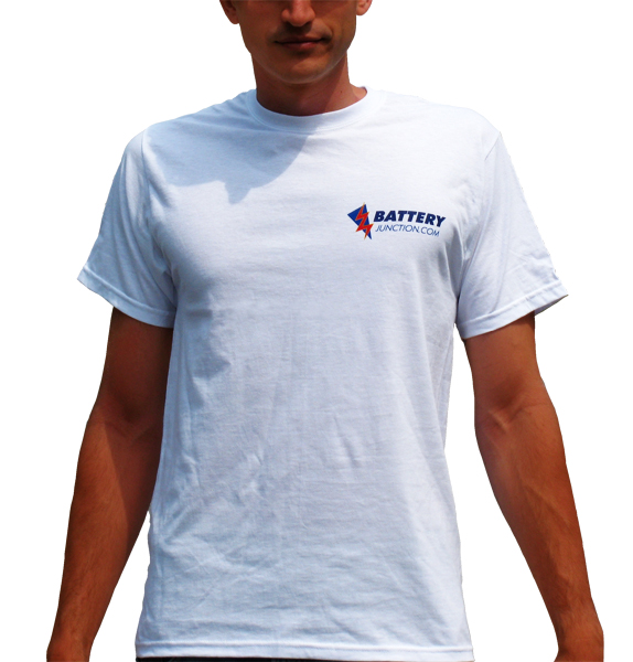 Back of person wearing the BatteryJunction.com t-shirt