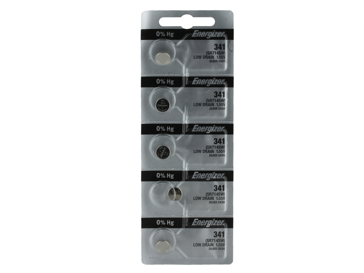 Set of 5 Energizer 341 coin cells in tear strip packaging