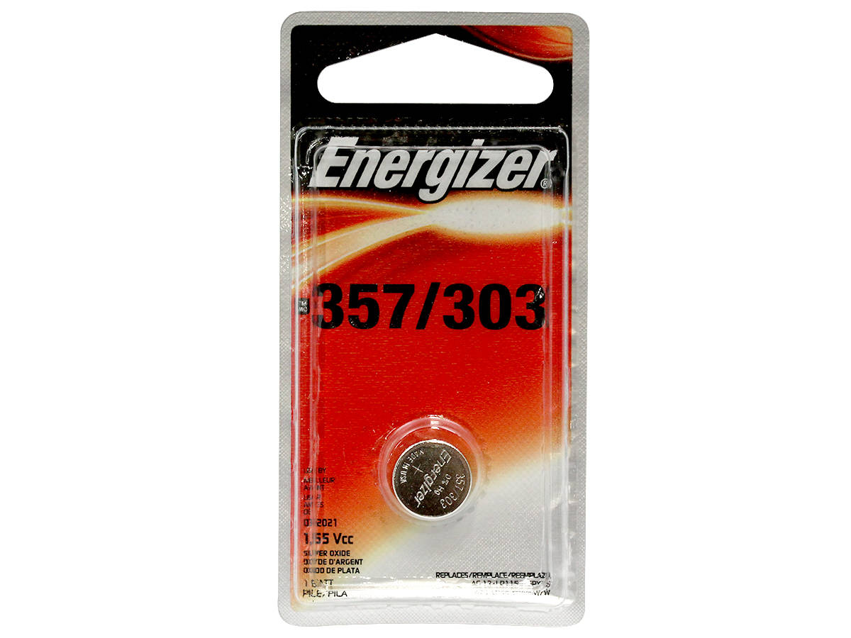 Energizer 357/303 coin cell in a 1 piece blister pack