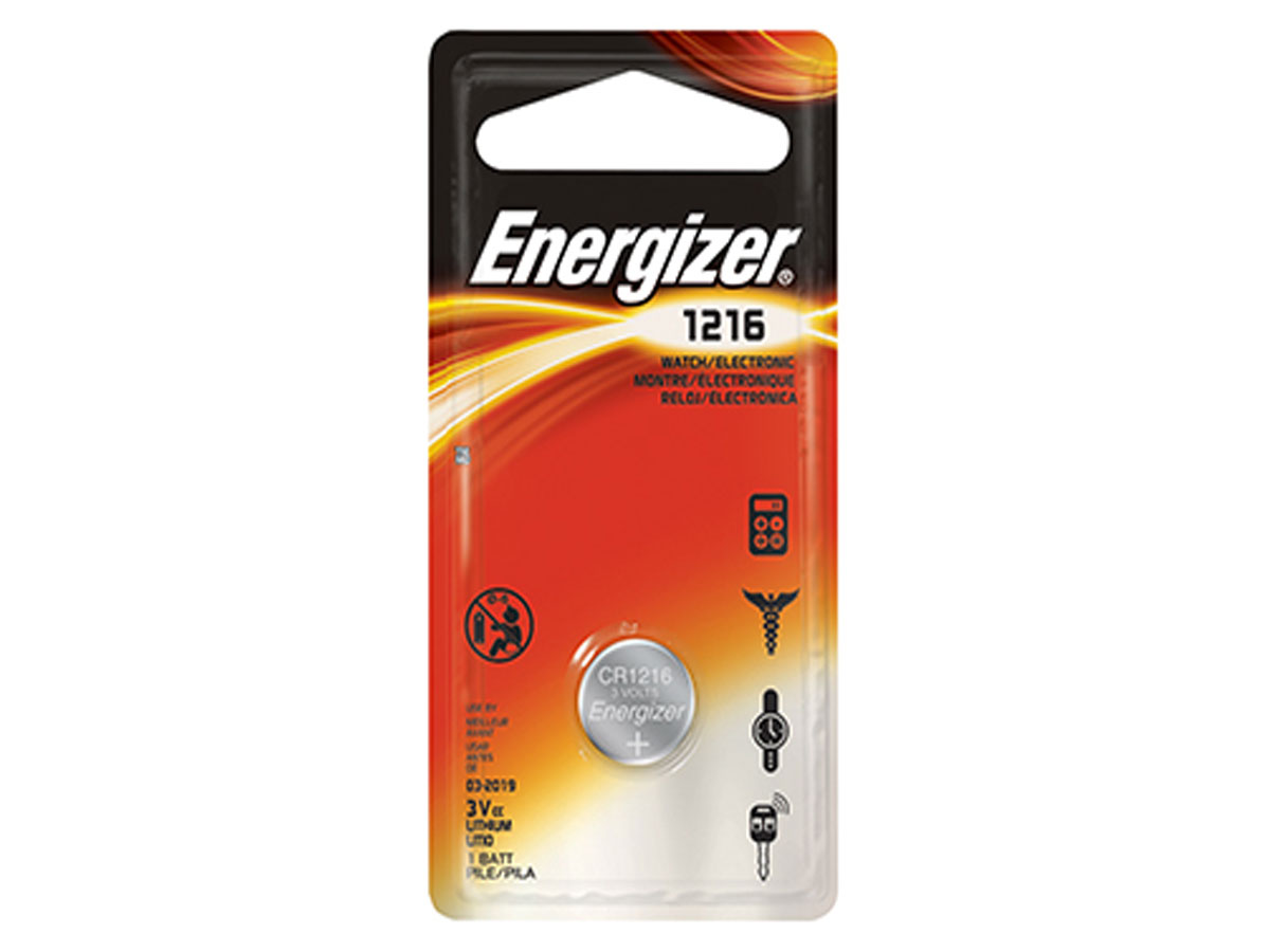 Energizer ECR1216 coin cell in 1 piece blister packaging