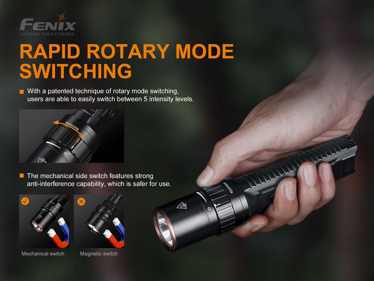 fenix manufacturer slide about the rapid rotary mode switching, showing the flashlight in hand with thumb on the rotary